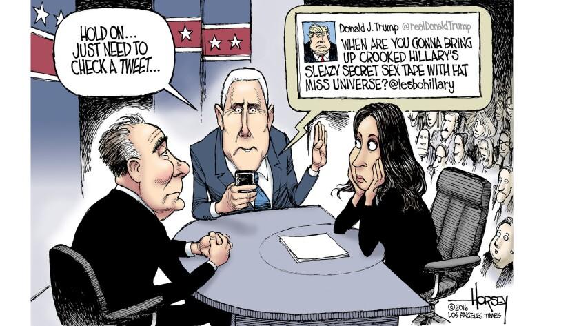 Trump tweets while Mike Pence debates Tim Kaine.