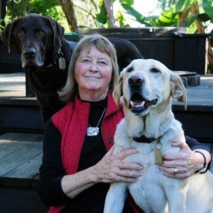 Art for Barks founder Lynn Moon and her dogs Chaco and Sage.