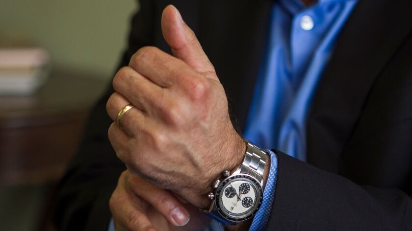 Paul Altieri, the founder and CEO of Huntington Beach-based Bob's Watches, puts on a Paul Newman Rol