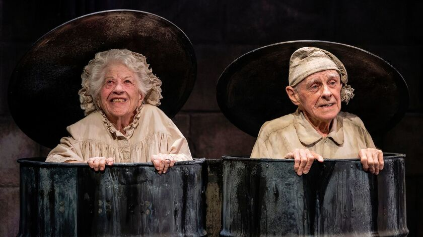 "Charlotte Rae and James Greene in Samuel Beckett's """"Endgame."""" at Center Theatre Group's Kirk Douglas Theatre."
