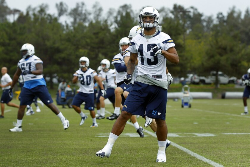 San Diego Chargers Keenan Allen practices during a voluntary workout.