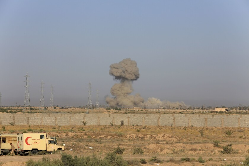 Iraqi military forces carry out an offensive to retake Fallouja on May 30, 2016.