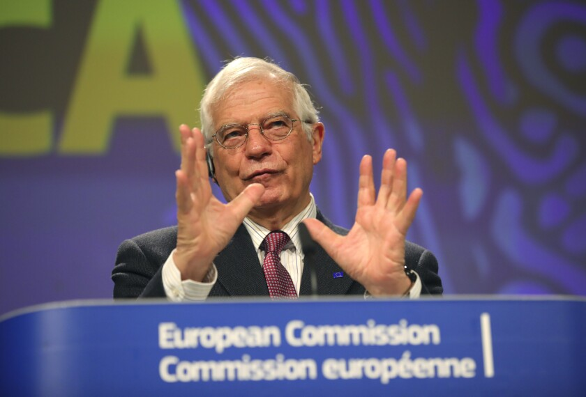 European Union foreign policy chief Josep Borrell speaks during a media conference regarding a strategy for Africa at EU headquarters in Brussels, Monday, March 9, 2020. (AP Photo/Olivier Matthys)
