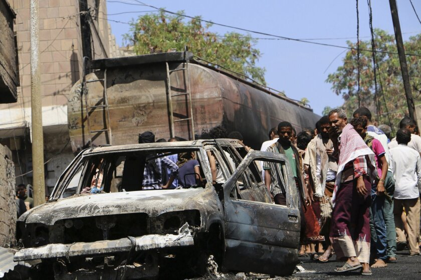 A neighborhood in Taizz, Yemen, suffered damage in fighting between Houthi rebels and forces loyal to President Abdu Rabu Mansour Hadi.