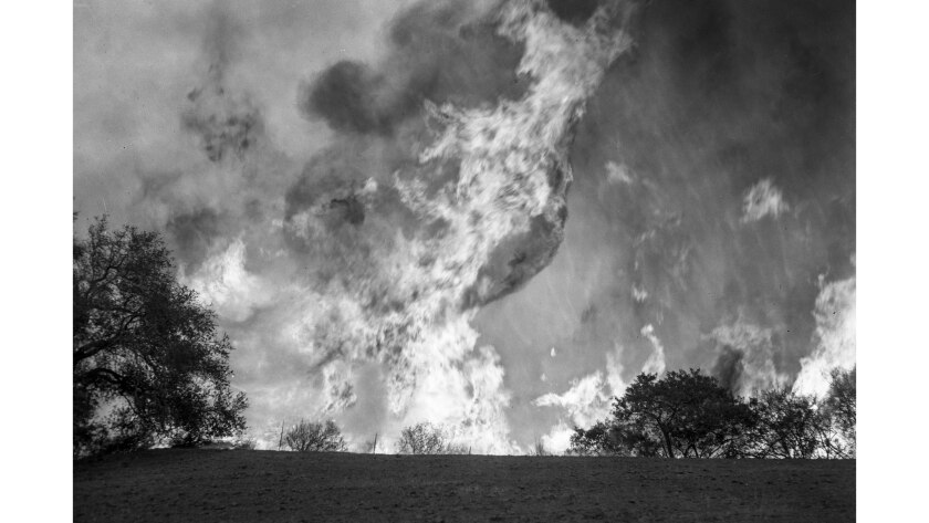 Nov. 7, 1961: A column of flames shoots over a ridge near Trippet Ranch at the end of Entrada Road i
