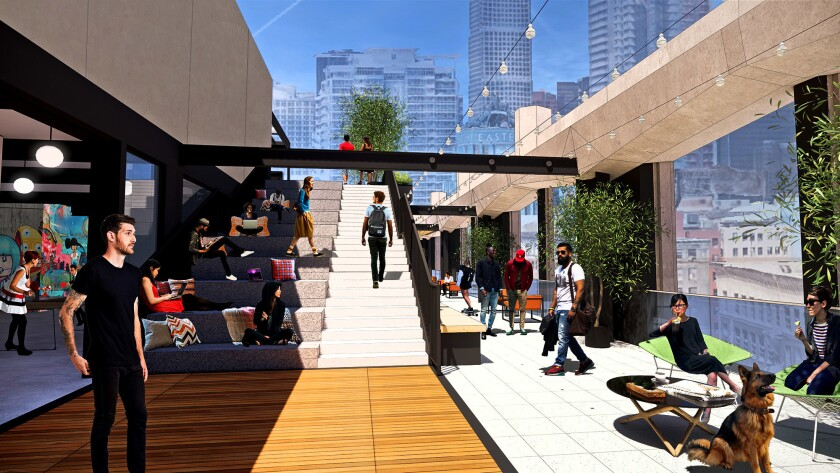 Rendering of planned changes to California Market Center in downtown Los Angeles