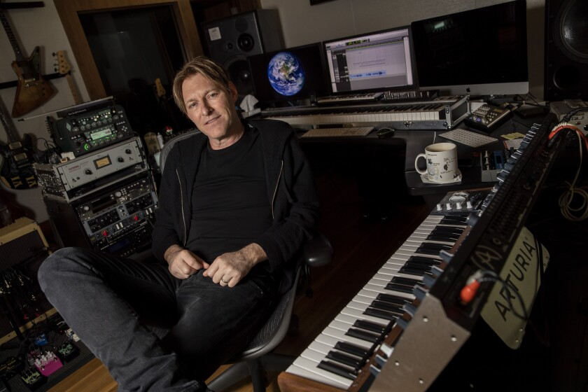 """Tyler Bates, composer of """"Hobbs & Shaw"""" and the forthcoming Cirque du Soleil show """"R.U.N,"""" in his studio in the hills of the San Fernando Valley."""