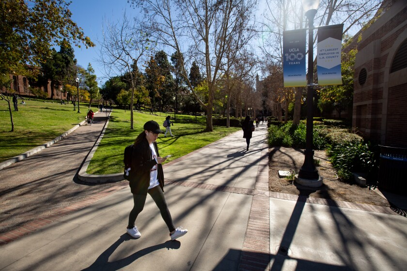 Feb. 2020 photo of students on the campus of UCLA. College recruitment has gone virtual for prospective students.