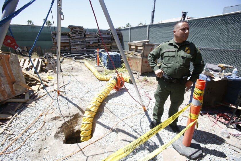 Feds seize longest tunnel on California-Mexico Border. U. S. Border Patrol Cesar J. Sotelo speaking to the media at the entrance of the tunnel.