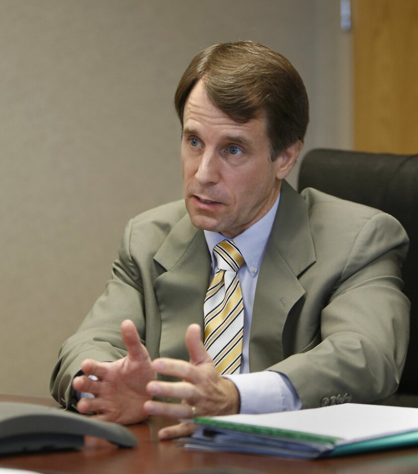 FILE -- In this photo June 24, 2013 file photo is California Insurance Commissioner Dave Jones, a Democrat, during an interview with the Associated Press in Sacramento, Calif. Jone is being challenged for reelection by state Sen. Ted Gaines, R-Granite Bay, a Republican.(AP Photo/Rich Pedroncelli)