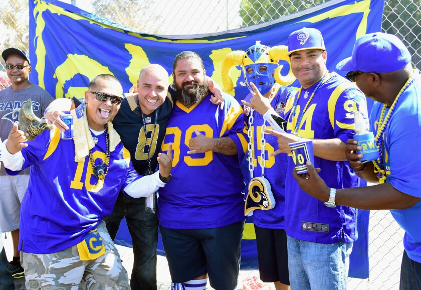 LOS ANGELES, CA - SEPTEMBER 18: Los Angeles Rams fans tailgate prior to the start of the game between the Los Angeles Rams and the Seattle Seahawks at Los Angeles Coliseum on September 18, 2016 in Los Angeles, California. (Photo by Harry How/Getty Images) ** OUTS - ELSENT, FPG, CM - OUTS * NM, PH, VA if sourced by CT, LA or MoD **