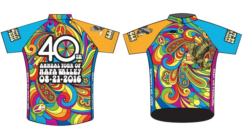 Front and back Illustration of the jersey for the 40th Tour of Napa Valley.