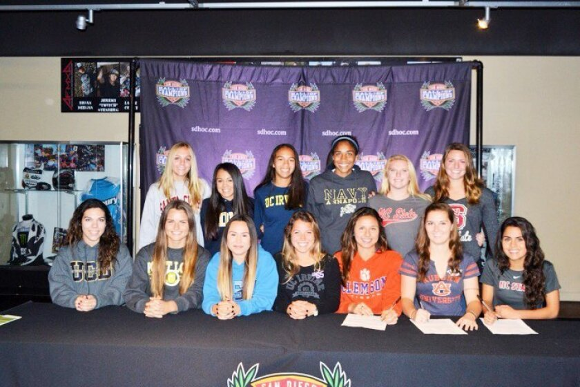 Congratulations to the DMCV Sharks 96/97 Girls Soccer team! Eighteen players signed Letters of Intent to play soccer this fall at 15 different universities. Pictured, back row, L-R: Melissa L., Adriana G., Elissya A., Riley D., Sydney W., Hannah K. Seated: Natalie S., Kristen C., Shelby L., Sam S., Gianna M., Crystal C. Not pictured: Huli D., Brooklyn G., Franzisca K., Kirsten M., Brooke M., Jordan S.