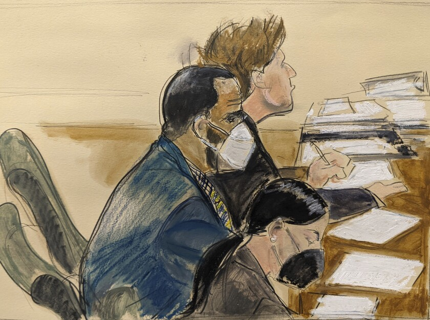 """In this courtroom artist's sketch R. Kelly, left, listens during his trial in New York, Thursday, Aug. 26, 2021. The 54-year-old Kelly has repeatedly denied accusations that he preyed on several alleged victims during a 30-year career highlighted by his mega hit """"I Believe I Can Fly."""" (AP Photo/Elizabeth Williams)"""