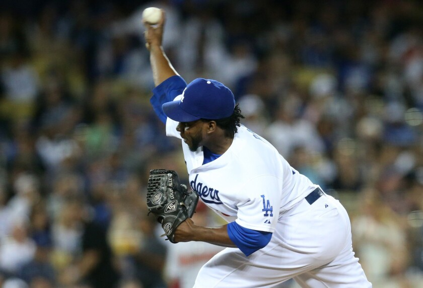 The Dodgers' Pedro Baez could be a busy reliever next season in a bullpen full of right-handers.