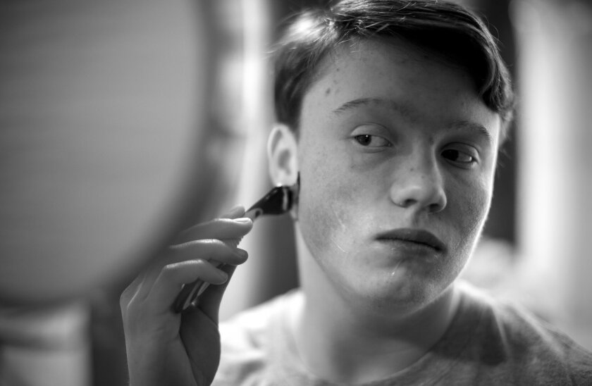 One of the rites of passage for guys is learning to shave. Sam is no different. He shaves once every three months,  one of the by-products of his weekly testosterone injections.