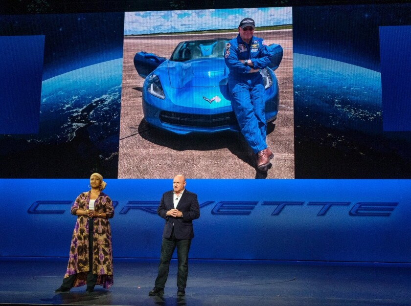 Retired astronauts Dr. Mae Jemison and Scott Kelly address the gathering.