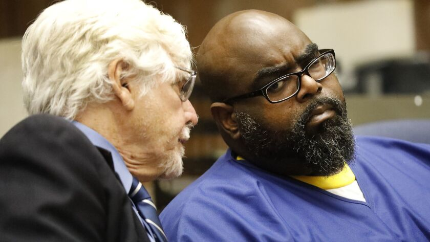 LOS ANGELES, CA ‰ÛÒ JUNE 01, 2018: Defendant Michael Allen, right, appearing with his attorney Ed Mu