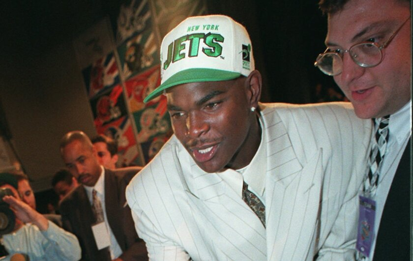 USC wide receiver Keyshawn Johnson after being selected No. 1 overall by the New York Jets in 1996.