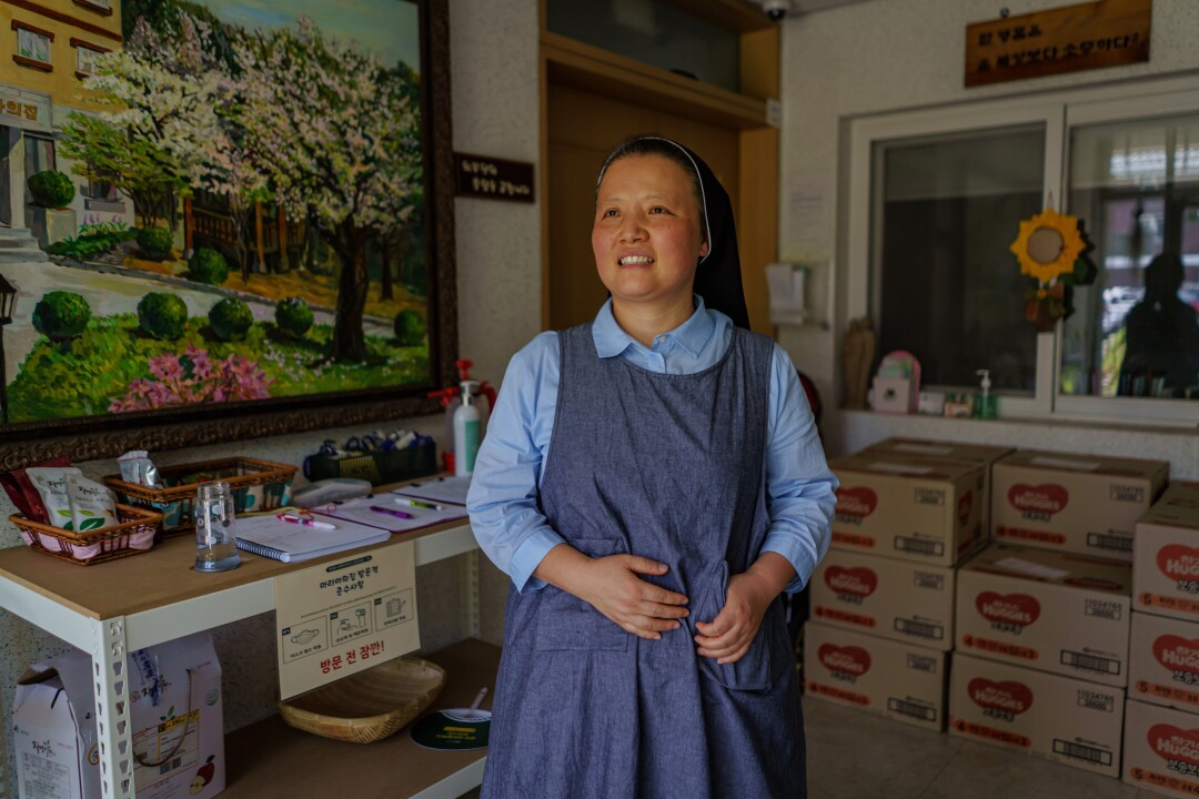 Martha Park, a nun, at Mary's Home, a shelter for pregnant girls and women in Chuncheon.