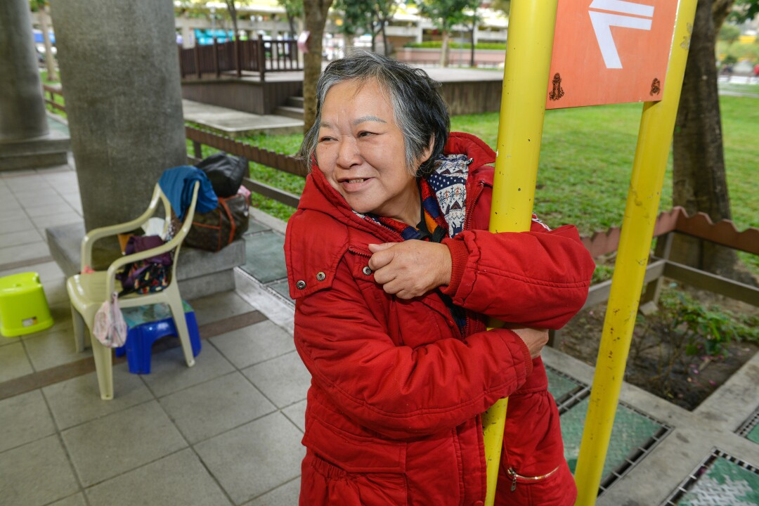 Lee Su-hui, 63, who is homeless, at her usual spot in Bangka Park in Taipei, Taiwan