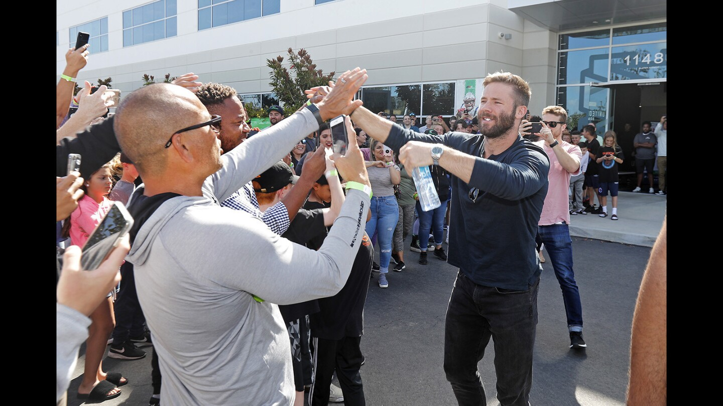 Photo Gallery: Patriots receiver Julian Edelman visits United Sports Brands headquarters in Fountain Valley