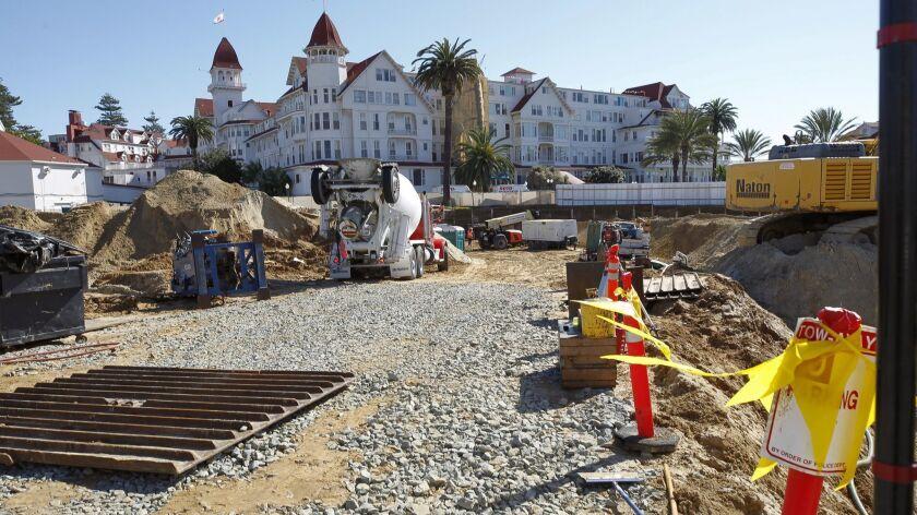 CORONADO, February 7, 2019 | Construction on the north side of the Hotel del Coronado in Coronado on
