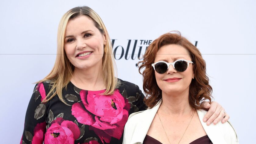 """Thelma & Louise"" costars Geena Davis, left, and Susan Sarandon at a December event in L.A."