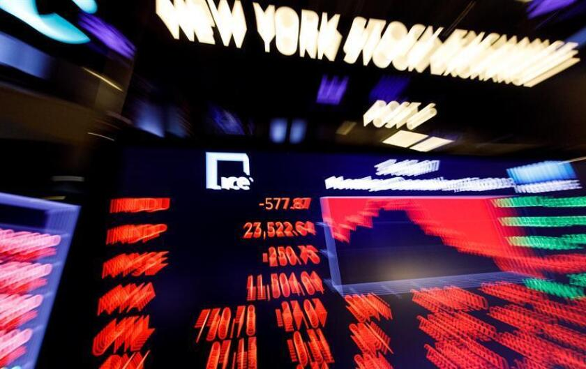 A board shows the value of the Dow Jones industrial average at the end of the trading day at the New York Stock Exchange in New York, New York, USA, on 17 December 2018. The Dow closed the day down over 500 points after falling over 600 earlier. EPA-EFE/JUSTIN LANE