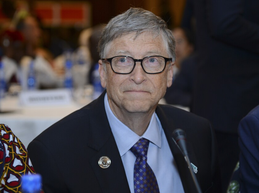 """FILE - In this Feb. 9, 2019, file photo, Bill Gates, chairman of the Bill & Melinda Gates Foundation, attends the """"Africa Leadership Meeting - Investing in Health Outcomes"""" held at a hotel in Addis Ababa, Ethiopia. Leaders of the Gates and Rockefeller Foundations — grant makers that have committed billions of dollars to fight the coronavirus — are warning that without larger government and philanthropic investments in the manufacture and delivery of vaccines to people in poor nations, the pandemic could set back global progress on education, public health, and gender equality for years. (AP Photo/Samuel Habtab, File)"""