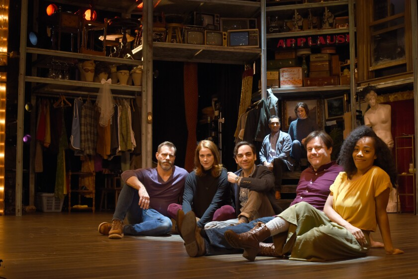 """Merrily We Roll Along"" director Noah Brody, far left, with cast members, foreground from left, Jessie Austrian, Ben Steinfeld, Paul Coffey and Brittany Bradford; in the back, Manu Narayan and Emily Young."