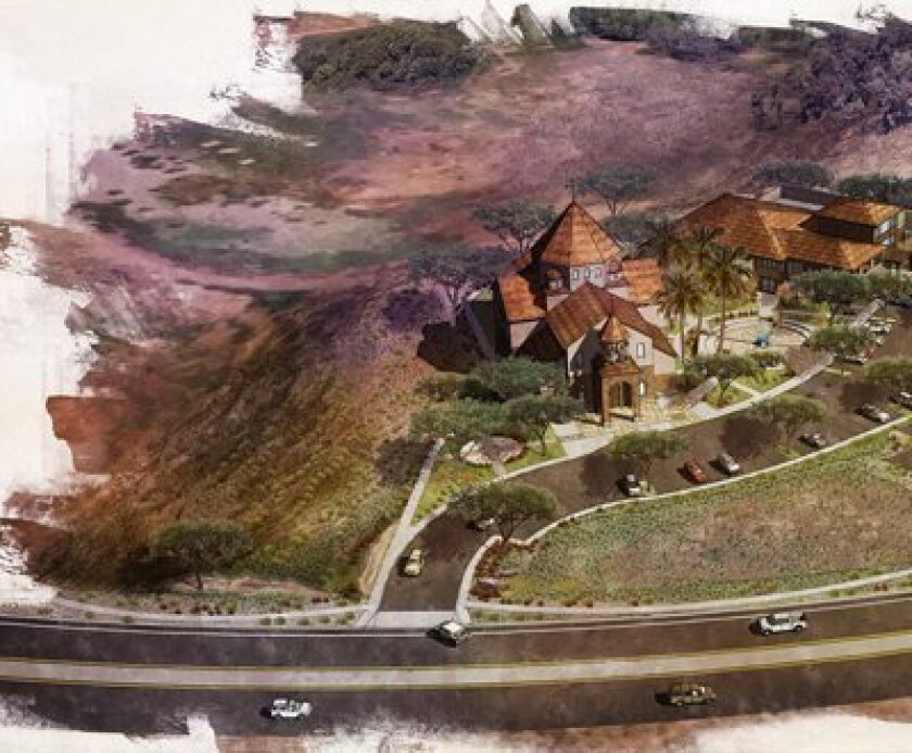 PHOTO COURTESY: Rendering of the proposed St. John Garabed church on El Camino Real.