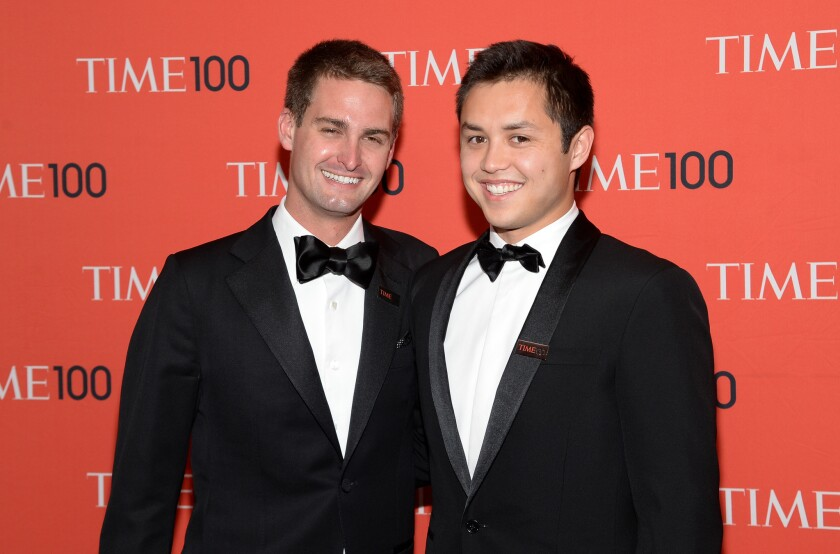 "Snapchat cofounders Evan Spiegel, left, and Bobby Murphy arrive at the Time 100 Gala in New York in April 2014. Spiegel plays himself in the April 12 episode of the HBO series ""Silicon Valley."""