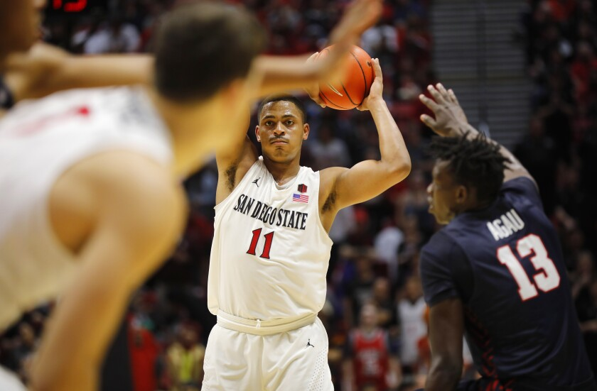 "SDSU's Matt Mitchell, shown here against Fresno State on Wednesday, says Utah State's Dee Glen Smith Spectrum is ""a tough place to play."""