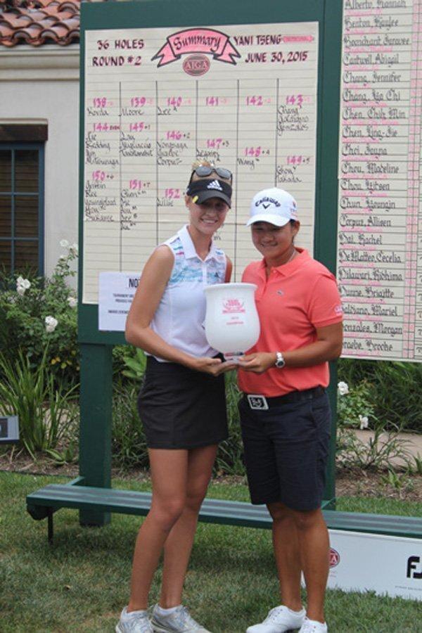 Yani Tseng Invitational winner Nelly Korda with Yani Tseng.