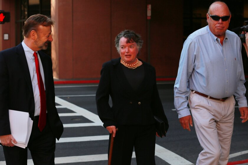 Former San Diego mayor Maureen O'Connor appeared in federal court Thursday to plead not guilty on a money laundering charge. She is accused of embezzling money from non-profit organizations to fuel a gambling habit. She was accompanied by her attorney Eugene Iredale. — Peggy Peattie