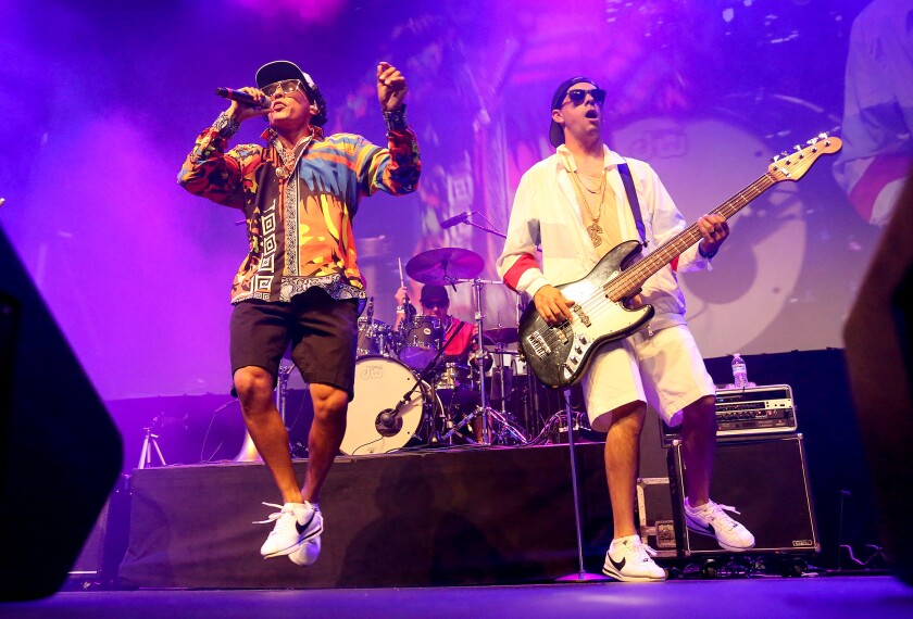 24K Magic performs in the Hangar at the O.C. Fair and Events Center on Wednesday.