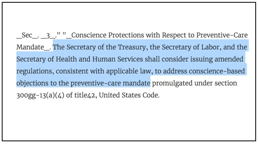 The requirement in Trump's executive order that HHS and two other federal agencies reconsider the AC