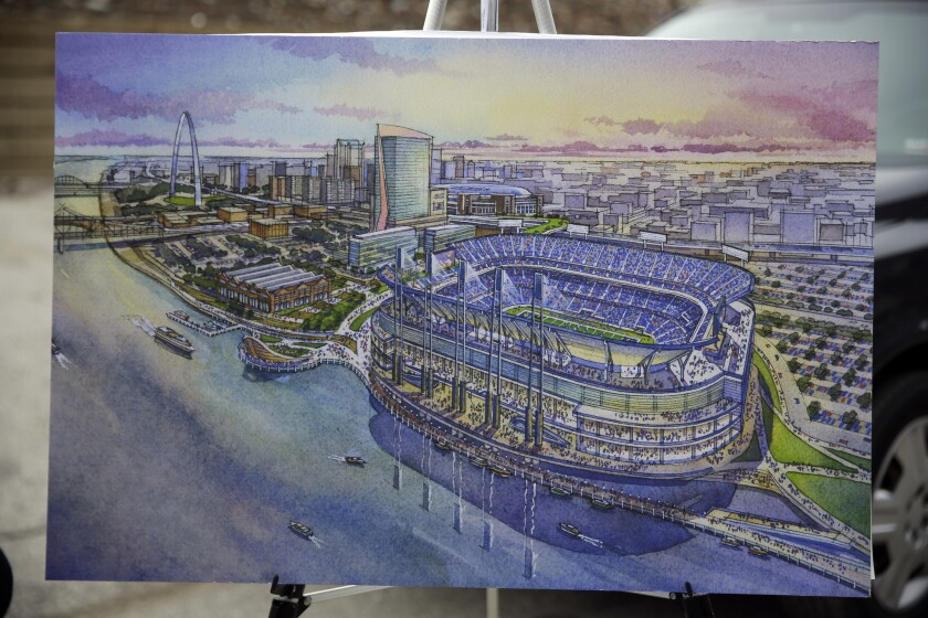 An artist's rendering of a proposed NFL stadium that could be built for the Rams in an area north of downtown St. Louis.