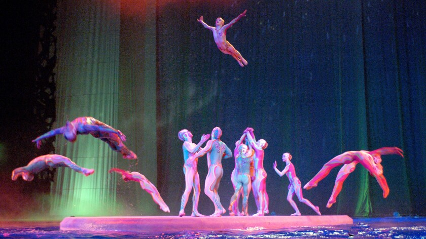 Acrobats in full-body leotards arch as they leap into water, with one outstretched while tossed into the air.