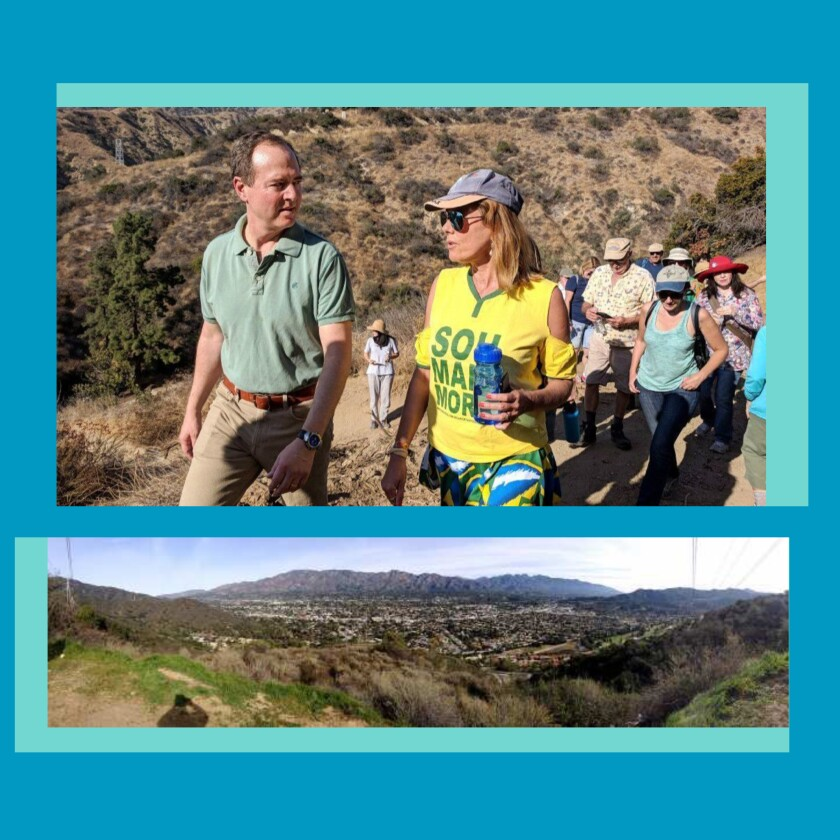 U.S. Rep. Adam Schiff hikes with others