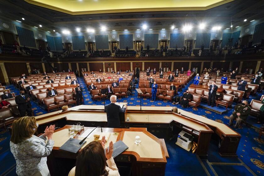 President Joe Biden addresses a joint session of Congress on Wednesday.