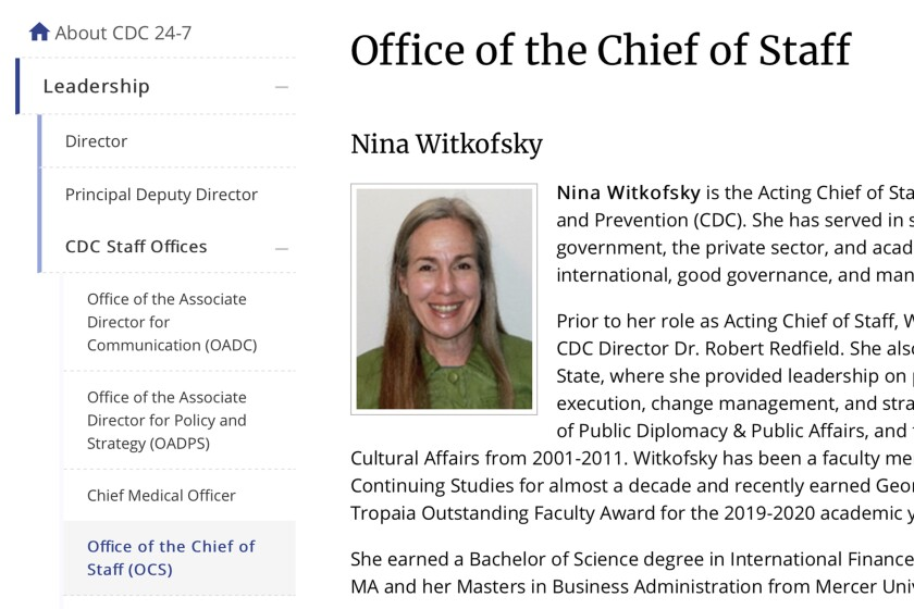 A capsule biography of Nina Witkofsky, new acting chief of staff, on the CDC's website