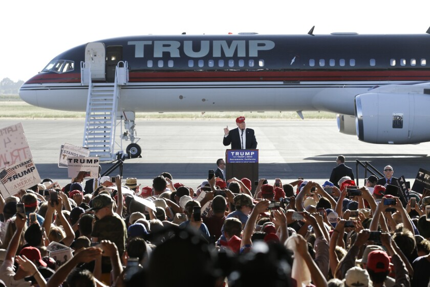 Donald Trump speaks Wednesday at a rally in Sacramento.