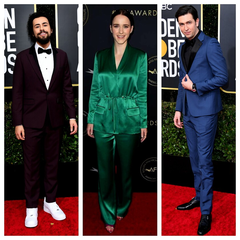 Photos of Emmy nominees Ramy Youssef, from left, Rachel Brosnahan and Nicholas Braun.