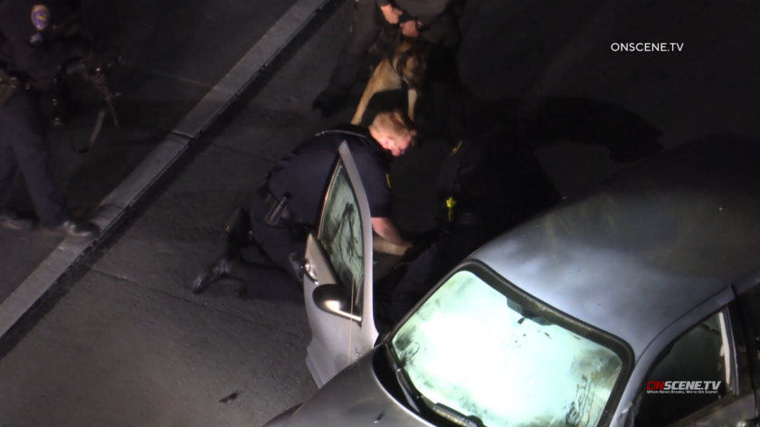 A driver was arrested after leading police on a chase in Chula Vista and onto northbound Interstate 805, where he ran into another car early Monday.