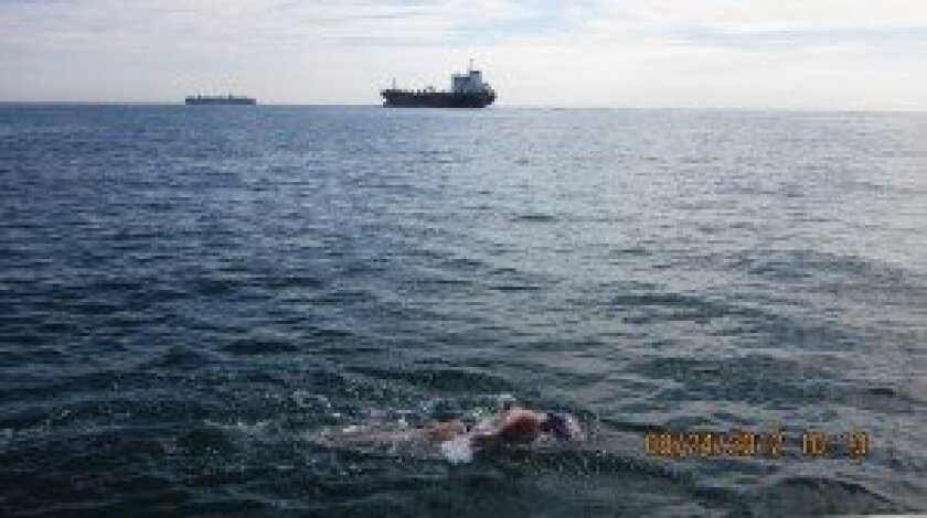 Barbara Held swimming the English Channel.