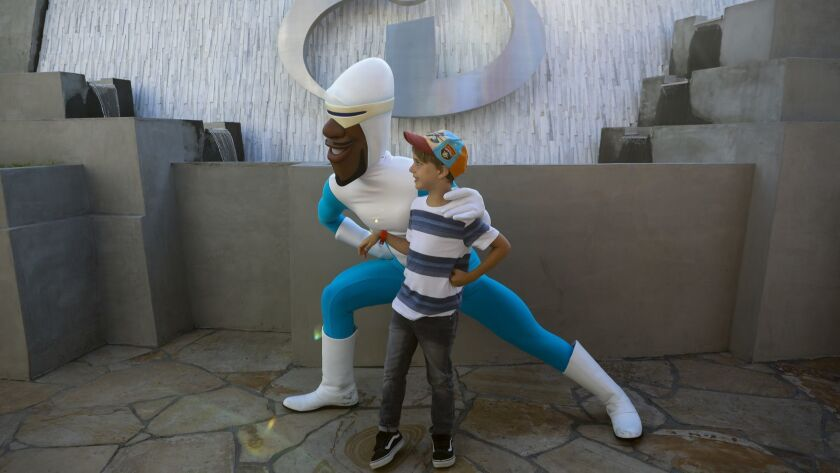 """ANAHEIM,CA --THURSDAY, JUNE 21, 2018--Frozone, from Pixar's """"Incredibles"""" franchise, takes a picture"""