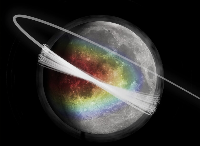 An artist's conception of the lunar dust surrounding the moon, as well as the LADEE spacecraft's trajectory, is shown. The colors represent the amount of material ejected from the surface and the gray haze represents the dust clouds.