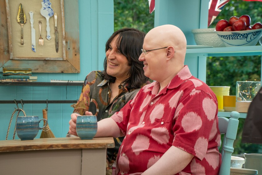 """Great British Baking Show"" hosts Noel Fielding and Matt Lucas."